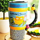 Cartoon Owl Taza, gres 3