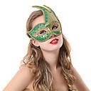Patrón Llama Verde máscara de Halloween con el borde de oro