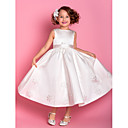 Flower Girl Dress - Tubino Lunghezza tè Senza Maniche Raso/Tulle
