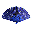 Floral Royal Blue Satin Handventilator - 4-er Set