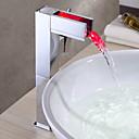 Kylpyhuoneen altaan hanat - Messinki - Työtaso - LED / Vesiputous - Kromi