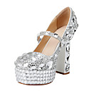 Patent Leather Women's Wedding Chunky Heel Pumps Heels Shoes With Rhinestone