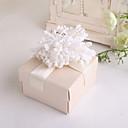 Bege Woven Box Padrão Favor Com Flor - conjunto de 12