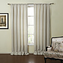 Neoclassical Two Panels Solid Off-white Living Room Linen Curtains Drapes