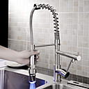Sprinkle® Kitchen Faucets LED / Centerset / Pull out with Brushed Single Handle One Hole
