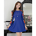 Women's Cute / Work Floral A Line / Skater Dress , Crew Neck Chiffon