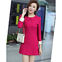 Women's Work / Cute Solid A Line Dress , Peter Pan Collar Above Knee Twill