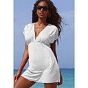 Kvinnors Solid Color Batwing Sleeve Strandklänning