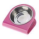 Fashionable Tilted Steel Bowls for Pets Dogs (Assorted Colors)
