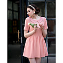 TS Chiffon Stitching Lace Short Sleeve Dress