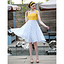 TS Vintage Contrast Color Grid Swing Dress