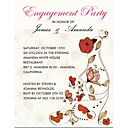 Personalized Floral Theme Engagement Party Cards - Set of 12