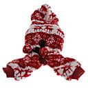 varme snefnug mønster fleece jumpsuits med hættetrøje til kæledyr hunde (assorterede farver, størrelser)