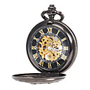 Men's Mechanical Hollow Cover Black Alloy Pocket Watch
