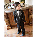 Black Polester/Cotton Blend Ring Bearer Suit - 4 Pieces