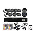8-kanaals D1 real time H.264 600 TV lijnen high definition cctv dvr kit (8 stuks waterdicht dag nacht CMOS camera's) 500 GB harde schijf