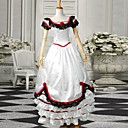White Short Sleeves Satin Sweet Victorian Dress