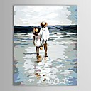 Pintado a mano de pintura al óleo Gente Dos niños en la playa con el marco de estirado