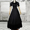 Black Short Sleeves Satin Gothic Victorian Dress