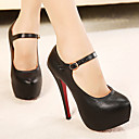 Leather Women's Shoes Mary Jane Stiletto Heel Shoes with Buckle