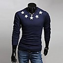 Men's Round Collar Pentagram Long Sleeve T-Shirt A