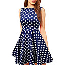 Women's Bateau Polka Dots Loose Big Swing Above Knee Plus Size Dress