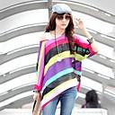kvinnors randig färgglad skjorta, casual / print snedstreck hals ¾ ärm