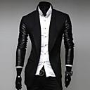 lapela moda masculina zian® costura cor sólida ocasional tweed manga longa casaco de trincheira