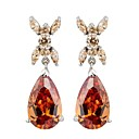 S&V Brass With Cubic Zirconia Drop Earrings (More Colors)