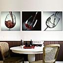 Lámina lona estirada copa de vino rojo bodegón conjunto de 3