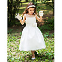 A-line Tea-length Flower Girl Dress - Silk