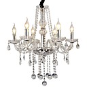 Crystal Candle Feature lysekrone, 6 Lys, moderne rustfritt stål Electroplating