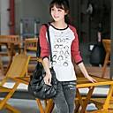 t-shirt de manga comprida impressa das mulheres