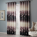 Country Two Panels Floral Botanical Black Bedroom Blackout Curtains Drapes