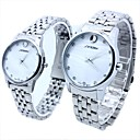 Couple's Bright Spot Round Dial Alloy Band Quartz Analog Wrist Watch