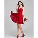 Knee-length Chiffon Bridesmaid Dress - Plus Size / Petite A-line Halter