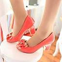 Women's Chunky Heel Round Toe Pumps with Bowknot Shoes(More Colors)