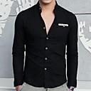 Men's Stand Collar Fashion Slim Linen Long Sleeved Shirt