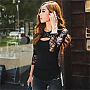 Women's Lace Splicing Cut Out Long Sleeve Slim T-shirt