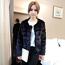 Fur Coats Faux Fur Fashion Long-Sleeved Collarless Jacket(More Colors)