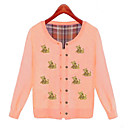 Women's Sweet Bear Print Long Sleeve Knitting Cardigan
