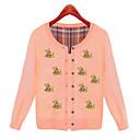 Women's Sweet Bear Print Long Sleeve Knitting Cardigan