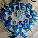 White Cake Favor Box With Blue Rose & Bow (Set of 10)