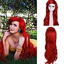 Women's Dark Red Curly Little Mermaid Princess Ariel Synthetic Cosplay Wig Extra Long