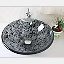 Black Crack Tempered Glass Vessel Sink With Chrome  Waterfull Faucet Set