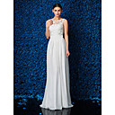 Sheath/Column Petite / Plus Sizes Wedding Dress - Ivory Floor-length Jewel Chiffon / Lace