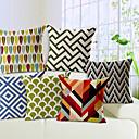 set om 6 geometrisk bomull / linne dekorativa örngott