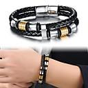 Mode Titan Stahlring vergoldet mehrschichtigen Männer Leder geflochten Armband