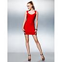 Dress - Ruby Petite Sheath/Column V-neck Short/Mini Silk
