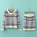 Women's Round Neck Long Sleeve Pullovers Suits(Sweater & Skirt)